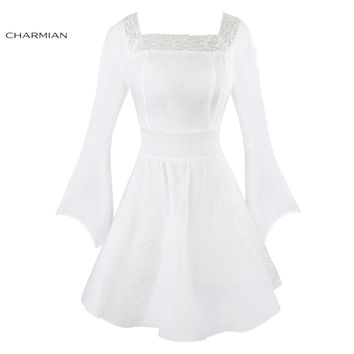 Charmian Women's Autumn Dress Victorian Gothic  Dress Casual Long Flare Sleeve Lace Dress Short Tunic Dress Vestidos