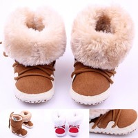 New Cute Solid Infant Anti-slip New Born Baby Shoes Casual Shoes Super Fleece Warm Winter Baby Boys Snow Boots Infant Shoes