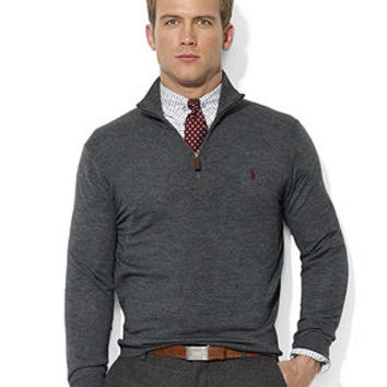 Polo Ralph Lauren Sweater, Half-Zip Mock Neck Merino Wool Pullover