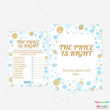 Blue and Gold Baby Shower Games, The Price is Right Baby Shower Game + Sign - Printable Price is Right Game Boy, Instant Download CB0003-bg
