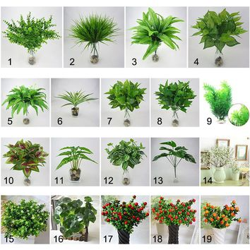 Creative Green Leaves Artificial Grass Fake Monstera Leaf Greenery Foliage Plant for Home Decor