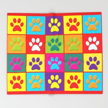 Paw Prints Throw Blanket by Miss L In Art
