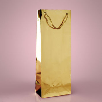 Gold Metallic Paper Wine Liquor Bottle Tall Gift Favor Bags, 5 x 3 x 13 inches, 25 pack