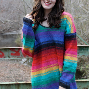 Vintage 90's Rainbow Striped Mohair Sweater Jumper