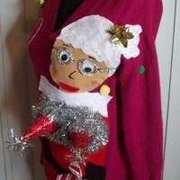 Small Ugly Christmas Sweater Women Naughty Ho  Mrs Claus Funny Naughty Fun.