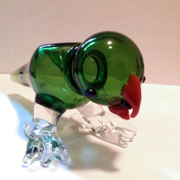 Green Leaf the Glass Bird - Glass Animal Bowl for Smoking