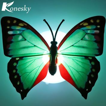 LED Night Light Colorful Changing Butterfly LED Lamp Stick-on Butterfly Lights for Home Room Party Desk Wall and Xmas Decor