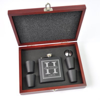 Personalized Flask Set with Shot Glasses With Wood Case