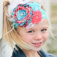 Teal and coral couture Headband with pearls, lace, net and feathers for newborn-toddler-child-girl