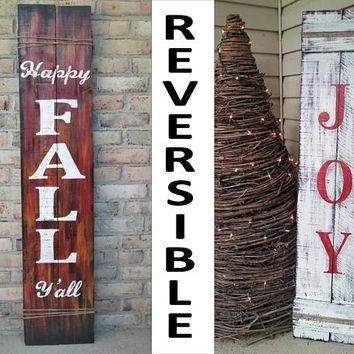 Happy Fall Y'All Reclaimed Wood Reversible Fall Christmas Joy Porch Sign