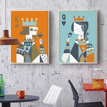 Cool New minimalist modern 5D round drill Diamond painting Full drill Two paintings King and Queen portrait Abstract art Home DecorAT_93_12