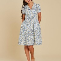 Pepper Swan Print Shirt Dress | Cotton Button-Through Dress | Joanie