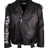 Balenciaga Men's Black Leather Painted Logo Biker Jacket