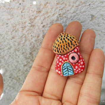 SALE--Whimsical house pin-paper clay house brooches