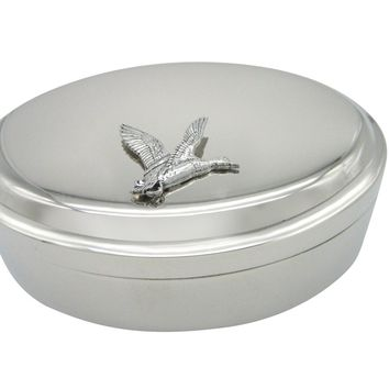 Flying Mallard Duck Bird Oval Trinket Jewelry Box