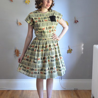 The Into the Woods Dress. XS - XL, Petite - Tall. Green, Brown & Orange on Pale Yellow. 1950s Vintage Inspired. Fall.