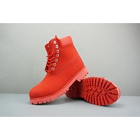 Timberland Leather Lace-Up Boot High Red