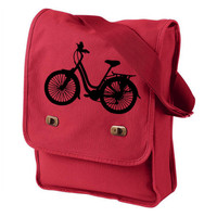 Bicycle Messenger Bag - Red Canvas Messenger Field Bag Laptop Bag