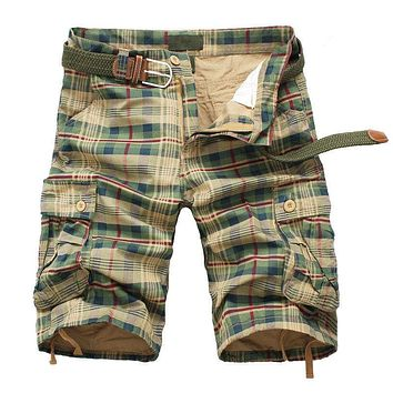 Men Shorts Fashion Plaid Beach Shorts Mens Casual Camo Camouflage Shorts Military Short Pants Male Bermuda Cargo Overalls