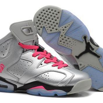 Hot Nike Air Jordan 6 Retro Women Shoes Silver Pink Black