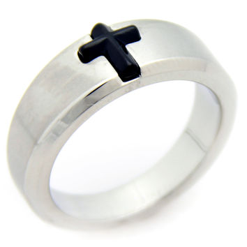 Black Enamel Cross Ring -Size