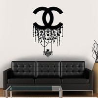 Wall Decal Vinyl Sticker Decals Art Decor Design Chandelier Luster Chanel Light Living room Bedroom Modern Mural Fashion (r1208)