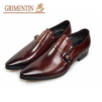 GRIMENTIN Fashion genuine leather mens dress shoes brown casual business male shoes men