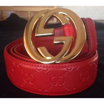 Red Designer Gucci Belt with Supreme Guccissima Print Gold Buckle Size 30-32