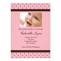 Pink Girl Birth Announcement