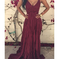 Sexy Spaghetti Strap Solid Color Backless Women's Maxi Dress