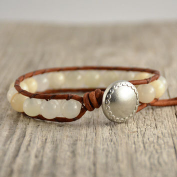 Pale yellow beaded cuff. Rustic single wrap bracelet
