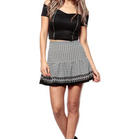 Tribal Print Fit and Flare Skirt