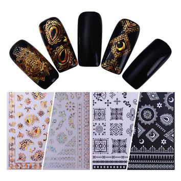 1 Sheet Ethnic Paisley Laser Adhesive Transfer Sticker Gold Silver Black 3D Nail Art Decoration