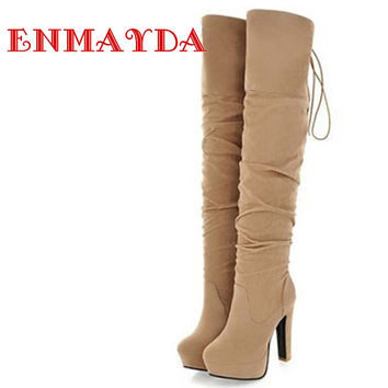 ENMAYDA Big Size 34-43 High Over-the-Knee Boots for Women Flock Tassel Ladies Long Boots Sexy Winter Shoes Warm Shoes Pumps