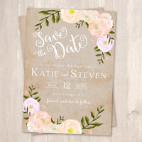 Rustic Wedding Save the Date, Peonies and Kraft Background - PRINTABLE - Digital File