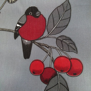 Tablecloth grey red Robins Rowan tree Birds Modern Scandinavian decor , runner , napkins , pillow , curtain available, great GIFT