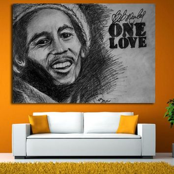 Large size Printing Oil Painting bob marley black Wall painting Decor Wall Art Picture For Living Room painting No Frame