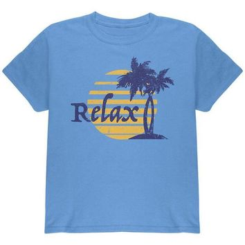 ICIKIS3 Summer Sun Relax Palm Tree Youth T Shirt