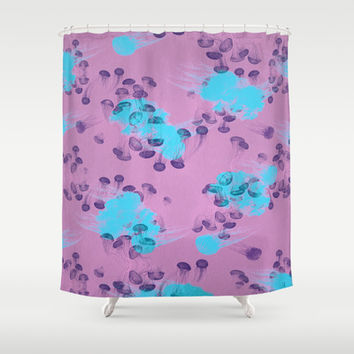 Psychedelic Jellyfish purple (Medusa V.2) Shower Curtain by Voodoo