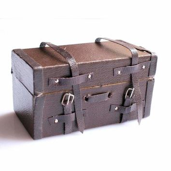 Vintage Leather Wood Suitcase Miniature