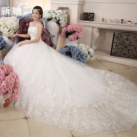 Romantic Wedding Dresses Bride White Crystal Slim Satin Lace Up Bridal Gown Vestido de Noiva Strapless Off the Shoulder X001 = 1930299460