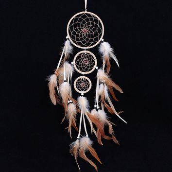 originality big Hot white Dreamcatcher Wind Chimes Indian Style pearl Feather Pendant Dream Catcher Gift