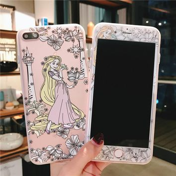 For iPhone 7 7Plus Pricess Case + Tempered Glass Screen film , Cute Mermaid Alice TPU Cover for iPhone 6 6S 6SPlus 8 8plus case