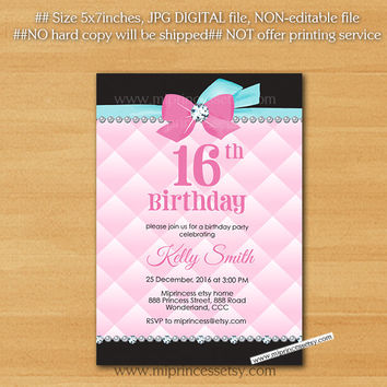 Girl birthday invitation, Birthday party invite, Rhinestone diamond elegant invite, any age kids sweet 16, 18th,  30th 40th - card  797