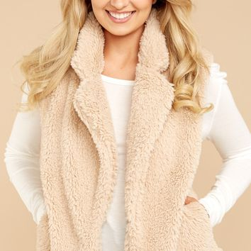 Everly Cozy Life Taupe Vest