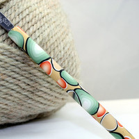 Polymer clay covered crochet hook, Susan Bates new F5 or 3.75mm, wild side design
