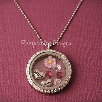 Floating Charm Locket - Memory Locket - Grandmother Necklace - Birthstone Locket - Mother Necklace