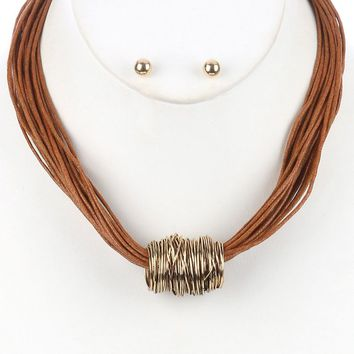 Brown Wrapped Metal Wire Multi Cord Strand Bib Necklace And Earring Set