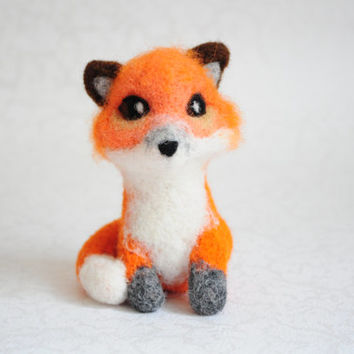 Needle Felted Fox - Red Fox, Plush, Sculpture, Animal, Forest, The Little Prince, Le Petit Prince, Nature, Orange, Red