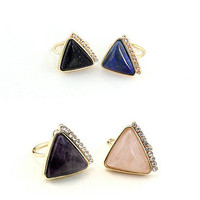 14K Gold Plated Inspired Inlay 4 Colors Natural Stone Cocktail Ring